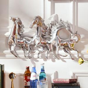 奇居良品 印度家居墙面装饰壁挂 铝制骏马图壁饰