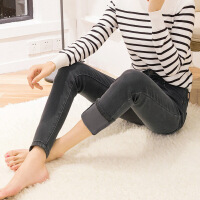 加绒牛仔裤女高腰冬季新款加厚保暖小脚弹力长裤大码外穿