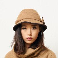 女士帽子秋冬款保暖圆顶休闲潮羊毛小礼帽女英伦毛呢帽子