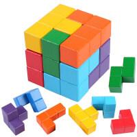 传统七巧板智力拼图积木制索玛立方体俄罗斯方块巧板儿童早教玩具
