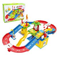 儿童拼装电动轨道车玩具套装火车小汽车益智宝宝男孩积木