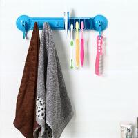 浴室置物架强力吸盘毛巾毛巾架牙刷架挂钩卫浴挂毛巾架挂架 兰色