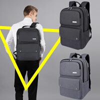 商务男士背包双肩包韩版大容量书包男帆布旅行新款防盗电脑包 黑色 防盗背包