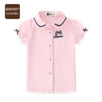 【119元4件】童装女童短袖衬衫2020夏装新款全棉透气纯色韩版翻领短袖蕾丝上衣