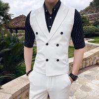夏季夜场型男无袖小西装男士修身双排扣西服九分西裤身两件套装