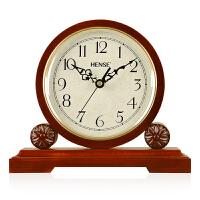 汉时(Hense)欧式桃花心木实木座钟客厅复古创意摆件静音台钟办公室桌钟丽声机芯HD02 实木(桃花心木)