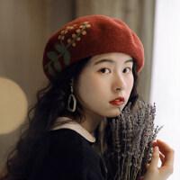 花纹花朵蓓蕾帽纯色文艺复古休闲画家帽贝雷帽女