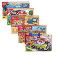 木制益智拼图火车农场恐龙交通消防车海洋拼图儿童早教认知玩具