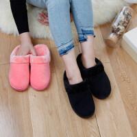 韩版室内厚底棉拖鞋居家绒面情侣简约包头防滑拖鞋女