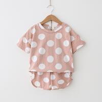女童套装 2018夏季新款波点运动休闲套装宽松T恤+短裤两件套