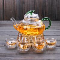 高硼硅玻璃花茶壶 耐热加厚条纹泡茶壶 玻璃内胆过滤南瓜壶套装