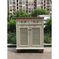 实木鞋柜可定制美式乡村门厅柜百叶双门三门四门大容量收纳门厅柜