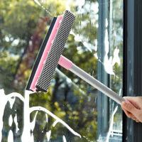 红兔子(HONGTUZI) 擦玻璃洗窗户清洁工具镜子浴室家用双面刮水器伸缩杆搽玻璃刷 粉色