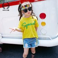 女童t恤2017夏装新款童装韩版儿童字母破洞小老鼠百搭短袖打底衫