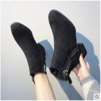 ins马丁靴女短筒新款秋季百搭韩版英伦风粗跟雪地加绒短靴冬