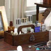 中式实木创意化妆品收纳盒大号整理护肤桌面梳妆台木质口红置物架