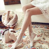 白色蝴蝶结蕾丝连裤袜 绑带提花波点打底丝袜