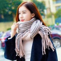 女时尚流苏学生针织毛线围巾 韩版大围巾披肩两用仿羊绒围脖 户外保暖围巾