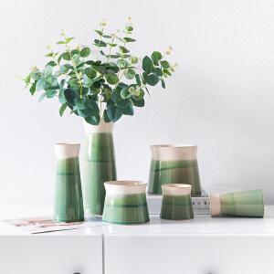 奇居良品 中式新古典客厅书房装饰陶瓷花瓶 绿荷叶釉面花瓶摆瓶
