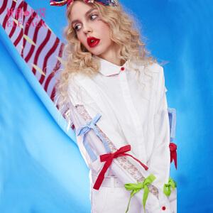 【每满100减50 领券再减】妖精的口袋中心人物春秋装新款镂空蝴蝶结系带长袖白衬衫女