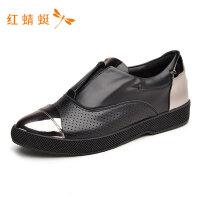红蜻蜓女鞋新款时尚套脚舒适防滑轻便简约靓丽百搭单鞋女--