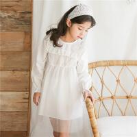 女童连衣裙夏2018新款韩版时尚春装白色网纱拼接裙童装长袖A字裙