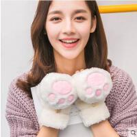 韩版手套女可爱加厚半指手套女卡通翻盖手套学生毛绒手套