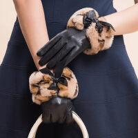 獭兔毛真皮手套加绒厚保暖时尚豹纹可爱韩版女士开车羊皮手套