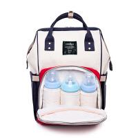 双肩妈咪包多功能大容量妈妈包外出婴儿背包时尚宝妈手提包母婴包 红白蓝拼色【普通版】 送:恒温加热装置