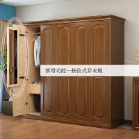 简约现代实木衣柜简易组装卧室整体木质衣橱经济型家用小户型 3门 组装