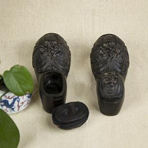 C58《旧藏紫檀鞋型五福墨盒》(纯手工雕刻、雕工巧妙、栩栩如生、包浆丰厚)