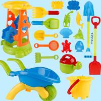 儿童沙滩玩具套装宝宝戏水玩沙子决明子沙漏玩沙挖沙大号铲子工具 蓝色大车+ 沙漏19件套