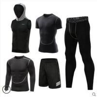 健身套装男晨跑五件套健身房速干紧身衣户外新品网红同款跑步运动套装训练服