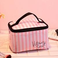 VS维多利亚的秘密维密小屋粉色条纹手提洗漱包收纳化妆包大号