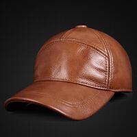 真皮帽子男士秋冬季头层牛皮帽子中老年人户外休闲加棉运动棒球帽
