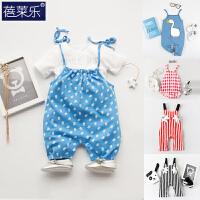 吊带背心连体衣服装宝宝哈衣0岁3个月潮款无袖背心外出服季