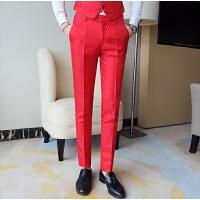 男士西装裤韩版修身小脚裤纯色西裤大红色 男式休闲长裤子潮男裤