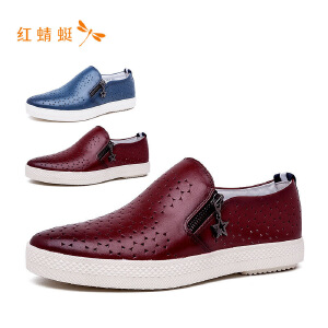 【专柜正品】红蜻蜓休闲平跟尖头单鞋男
