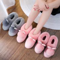 韩版家居家用情侣棉拖鞋 男士室内毛绒保暖拖鞋 新款毛毛防滑包跟棉拖鞋女