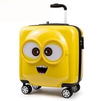 20180701160430426儿童旅行箱万向轮小黄人拉杆箱18寸可爱登机皮箱密码箱行李箱20寸 柠檬黄 (3D立体