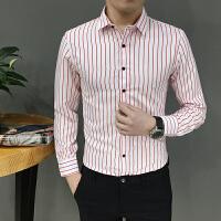 秋装长袖衬衫村杉红白条纹寸衫男士衬衣韩版修身商务正装大码工装