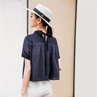七格格雪纺衫女装甜美新款夏装韩版蓬蓬短袖显瘦遮肚子上衣洋气
