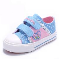 儿童帆布鞋春季女童布鞋宝宝单鞋幼儿园学生鞋魔术贴