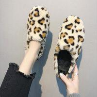 女韩版加绒保暖棉鞋休闲平底单鞋豆豆鞋新款网红毛毛鞋