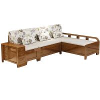 橡木实木沙发组合贵妃冬夏两用沙发小户型带储物现代中式三人客厅 +贵妃位 组合