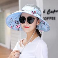 帽子女士遮阳帽夏天韩版潮防紫外线大沿沙滩防晒太阳帽可折叠凉帽