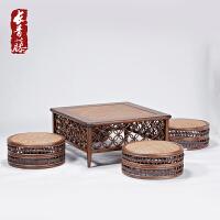 个性功夫茶几窗花榻榻米组合日式阳台飘窗桌实木小炕桌定制 整装