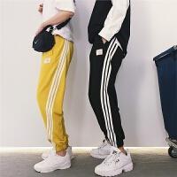 滑条纹男女情侣装学生运动裤健身收脚休闲透气9分长裤薄款