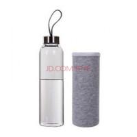 耐热玻璃水瓶 密封水杯 带盖透明茶杯 送杯套 灰色