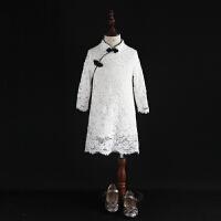 2018秋冬新款女童七分袖旗袍改良民族服儿童红色雷丝裙亲子母女装